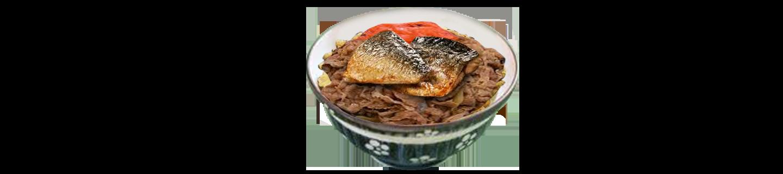 照燒鯖魚配牛肉丼(午)